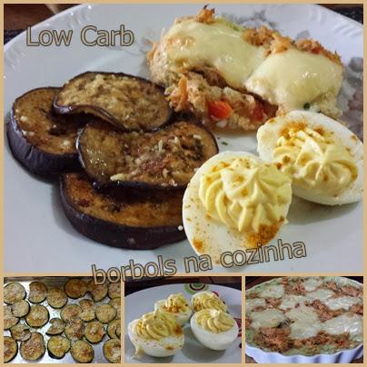 Torta de Frango Ovos picantes e berinjela assada Low Carb