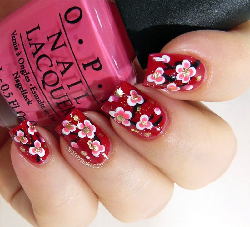 Chinese New Year cherry blossom nails