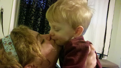 Garrett giving mommy a kiss