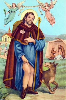 En la imagen San Roque mostrando su pierna llagada