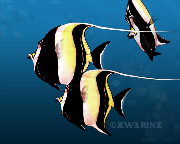 Jewel renee illustration moorish idol fish digital for Moorish idol fish