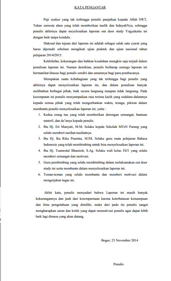 Contoh Laporan Perjalanan Study Tour Ke Yogyakarta Singkat Kumpulan Contoh Laporan