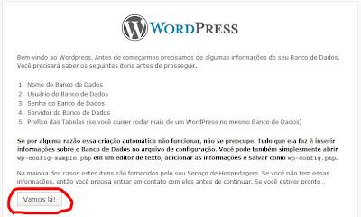 Inicio wordpress instalação