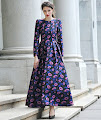 New 2016 Long Sleeve Pink Blue Floral Long Maxi Dress
