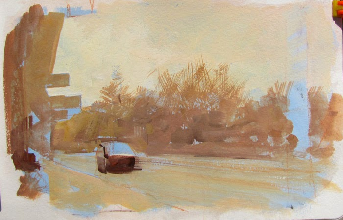 Gurney journey street scene with a cool underpainting for Cool watercolor tricks
