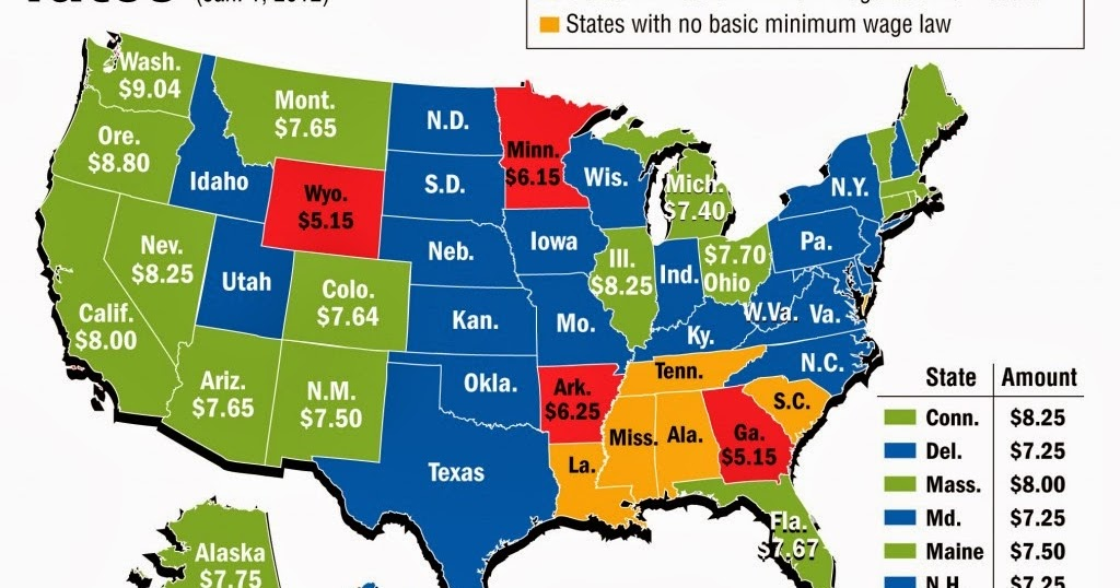 Dont Worry Im An Economist The Real Problem With Minimum Wages - Minimum wage us map