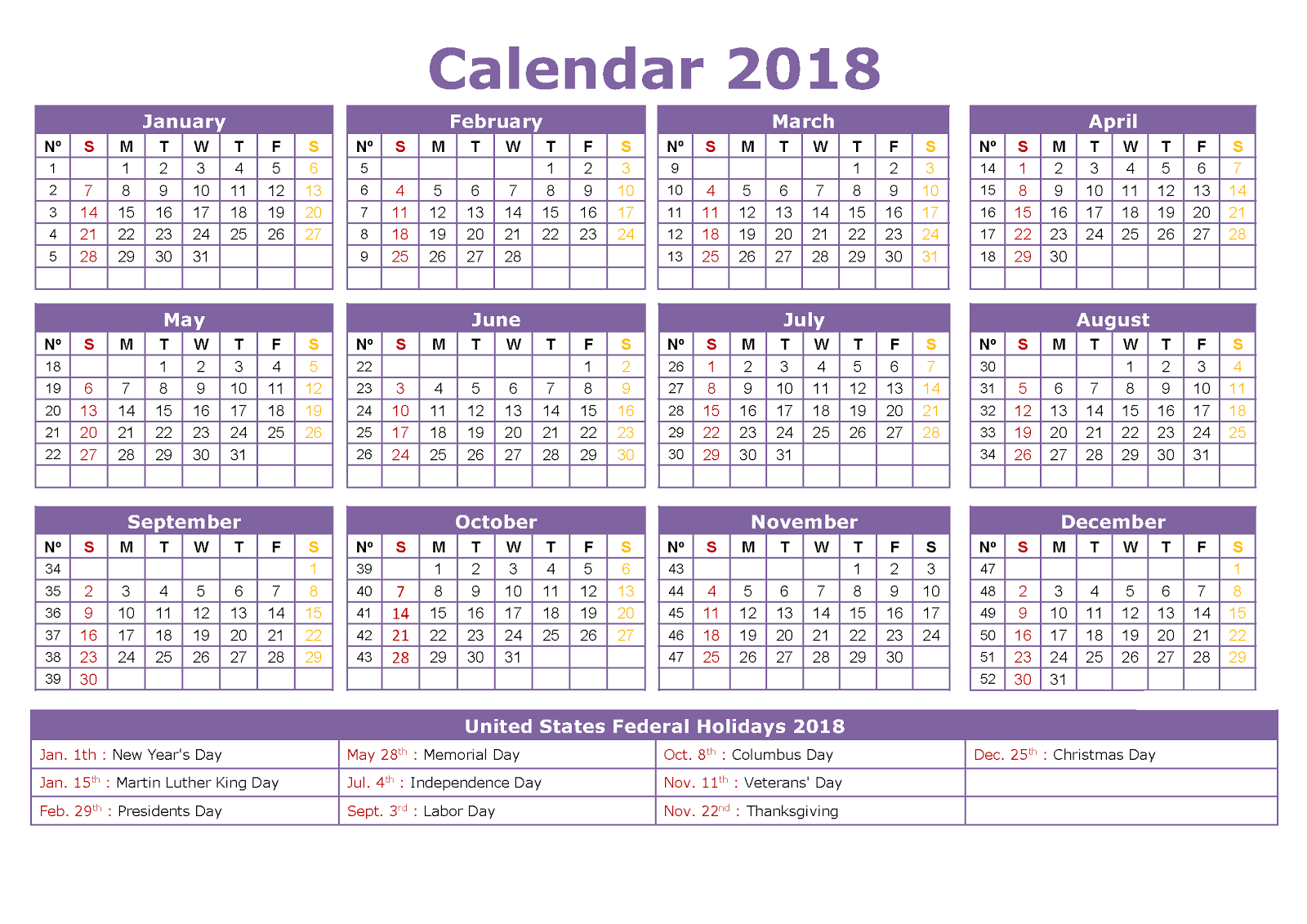 2018 year calender
