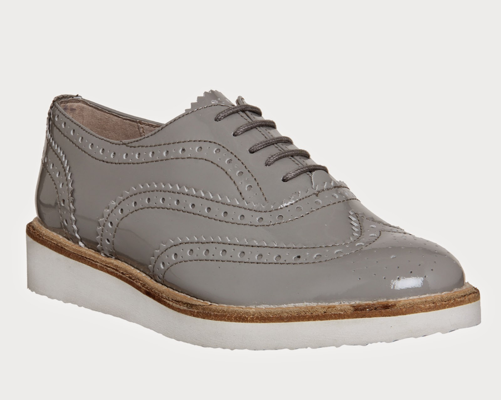 office grey patent brogues, office grey brogue, office grey patent shoes,