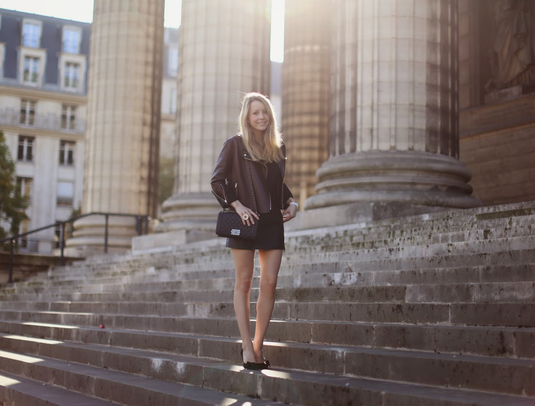 céline, leather jacket, topshop, isabel marant, chanel, lara bohinc, streetstyle, fashion blogger