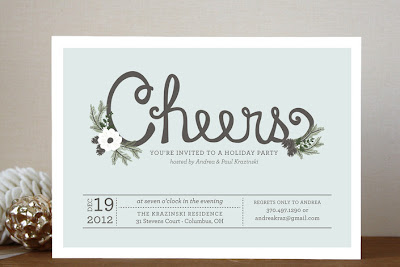 Christmas party invite, hand lettering, rustic invitation
