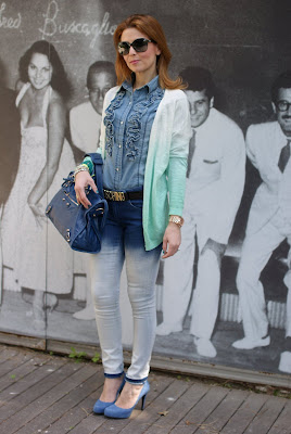 ombre pants and cardigan