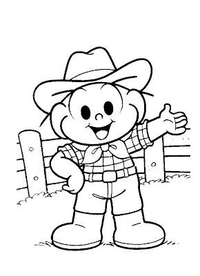 Desenhos para Colorir da Turma da Mônica - Cebolinha de Cowboy