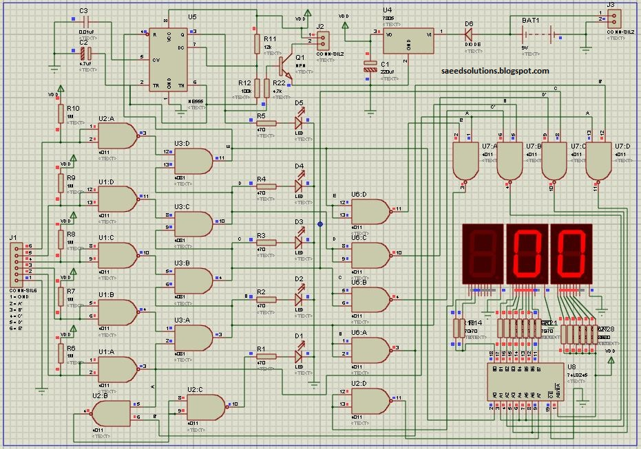 Digital water level indicator without micro controller saeeds blog circuit diagram of water level indicator in proteus76 ccuart Gallery