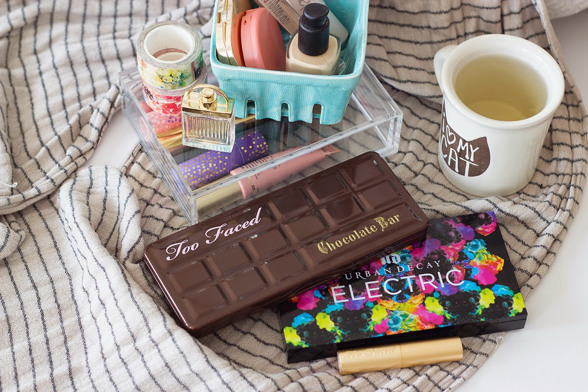 february favorites - too faced chocolate bar palette, urban decay electric palette, too faced la creme lipstick in nude beach
