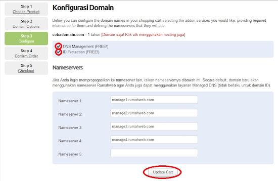 pilih addons yang menyertai nama domain