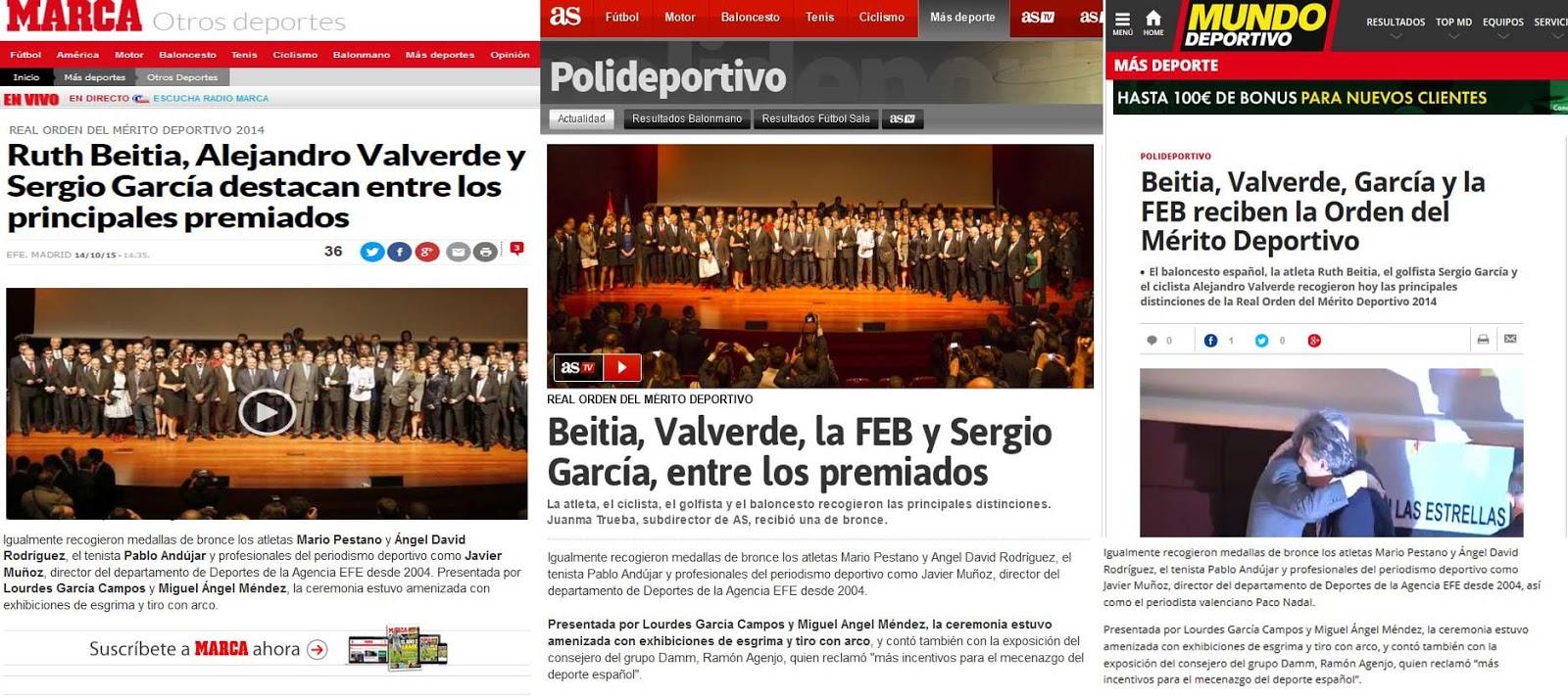 Resumen de la prensa nacional deportiva de los Premios de la Real Orden del Mérito Deportivo. /TRAILCYL