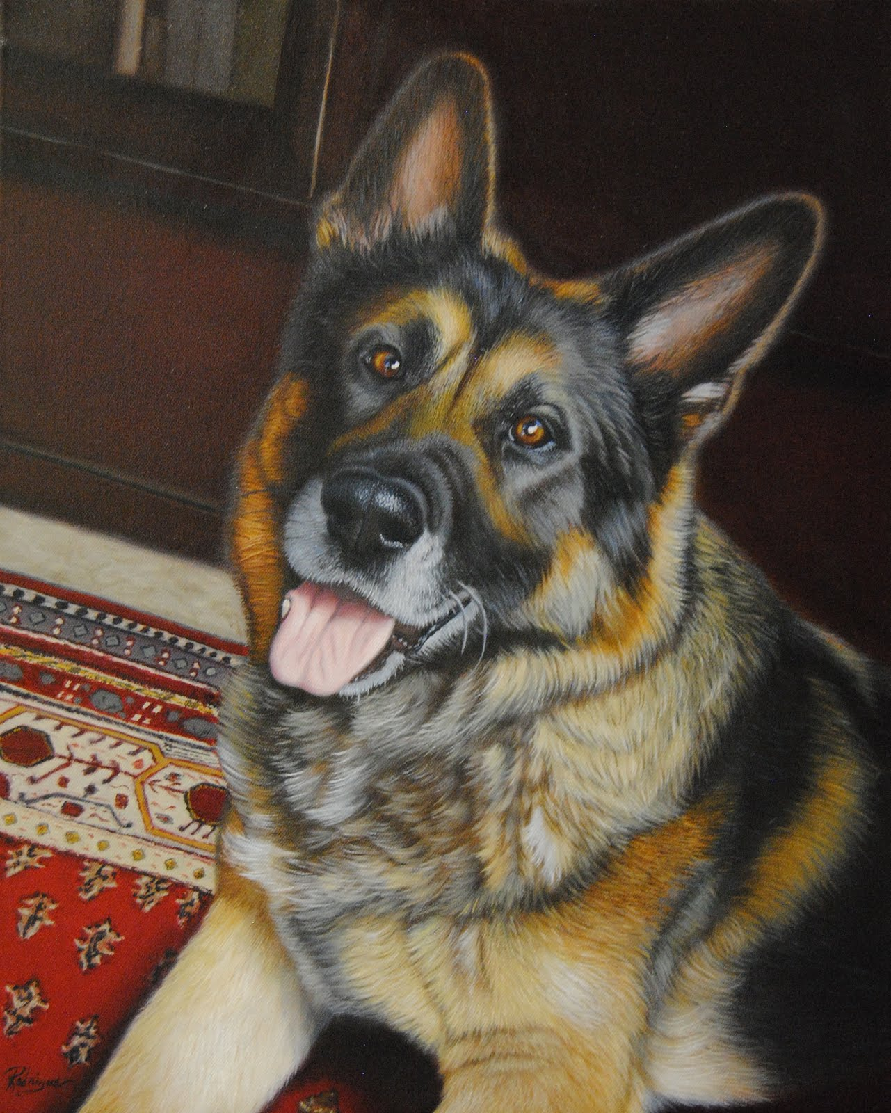 Buddy, German Shepherd Portrait in Oil