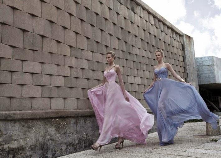 Manhattan Mayhem Evening Dresses by Galia Lahav - blue and pink