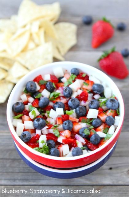 Labor Day party ideas blueberry strawberry & jicama salsa