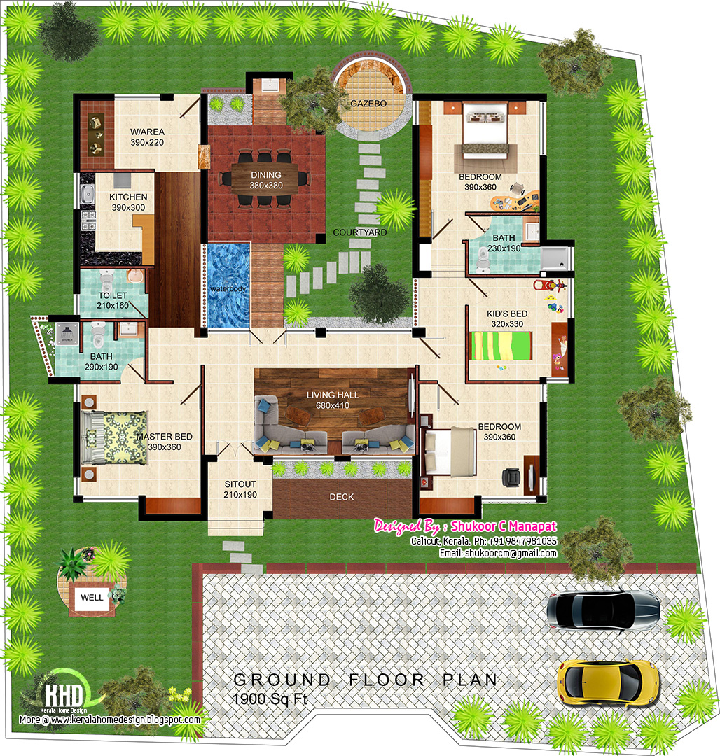 Eco friendly single floor kerala villa house design plans for Home architecture floor plans