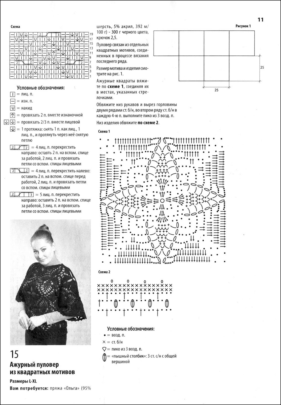 Вязание квадратных мотивов спицами