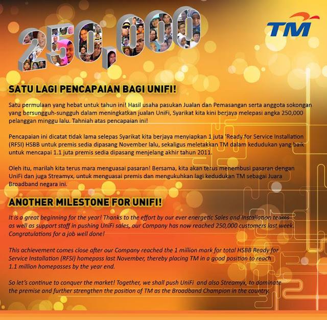 TM UniFi Milestone as at 17 January 2012