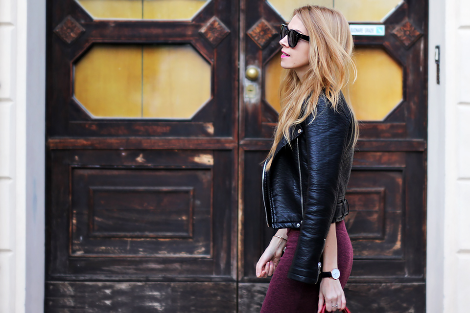 burgundy bodycon dress, leather jacket, Celine Audrey sunglasses, fall outfit, fashion blog