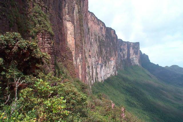 The steep rock wall of Mount Roraima.