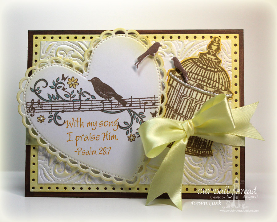 Stamps - Our Daily Bread Designs Music Speaks, To The Lovebirds, ODBD Custom Faithful Fish Pattern Die and Debossing Plate, ODBD Custom  Vintage Flourish Pattern Die, ODBD Custom Birdcage and Banner Dies, ODBD Custom Ornate Hearts Die