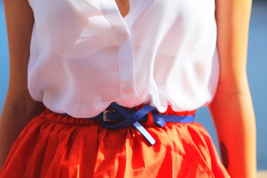 blue belt white blouse monki primark skirt