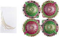 Buy Art with Emphasis Traditional Round Terracotta Diya with Wick ( Set of 4) at Rs. 99 : Buytoearn