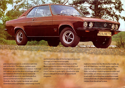 Opel Manta A series Berlinetta Sales Brochure Page 3