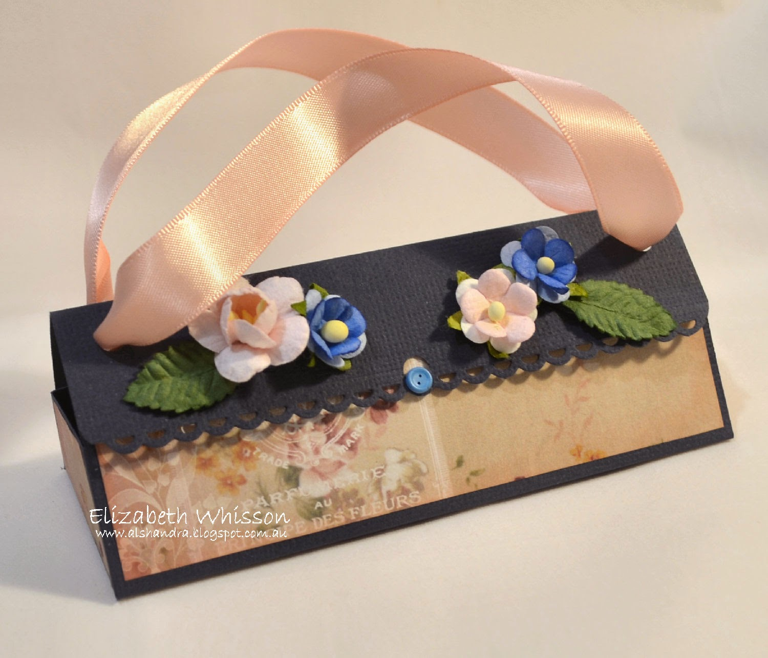 Meg's Garden, The Romantic Garden, gift box, live and love crafts, button brad, spellbinders shapeabilities on the edge, satin ribbon, green tara leaves, scrap dots, gift box, Ferrero Rocher