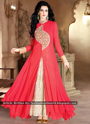 Red Georgette Gown | Steel Blue Sleeveless Fancy Gown Designs