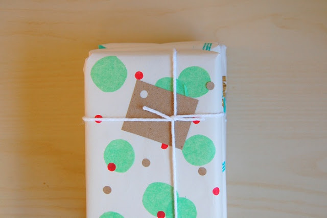 handmade confetti decorated gift wrap