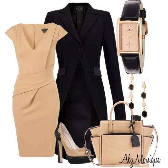 Black long jacket, gown, high heels and hand bag for ladies