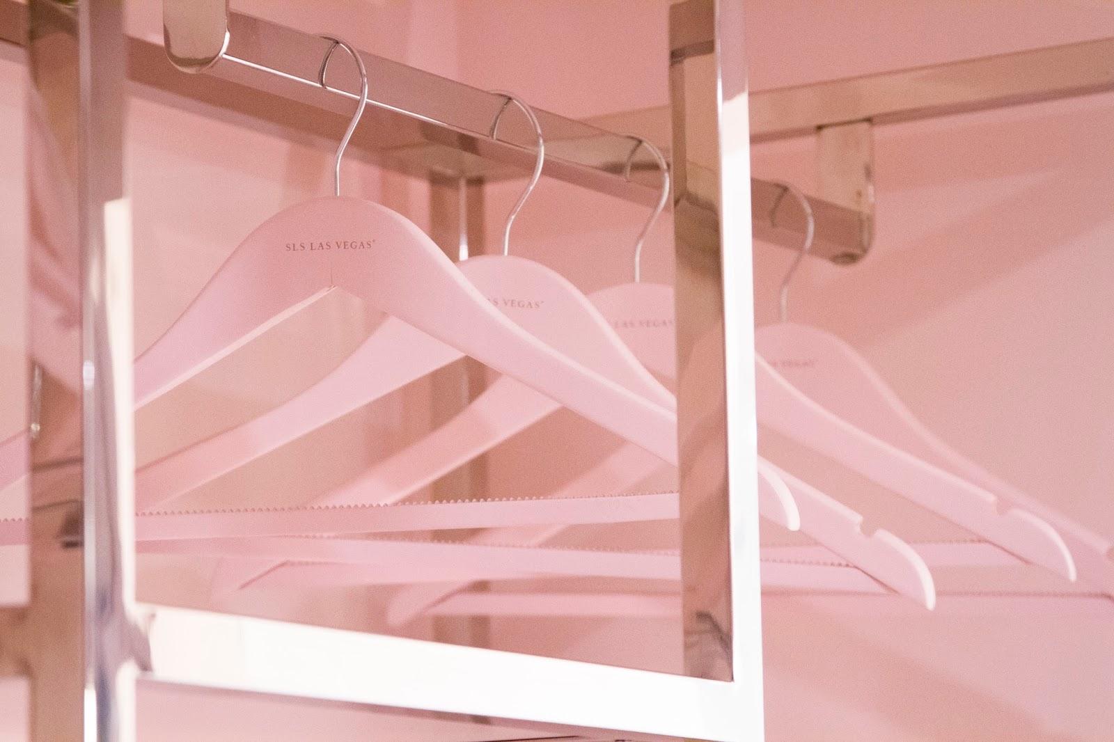 sls hotel las vegas luxe tower pink closet