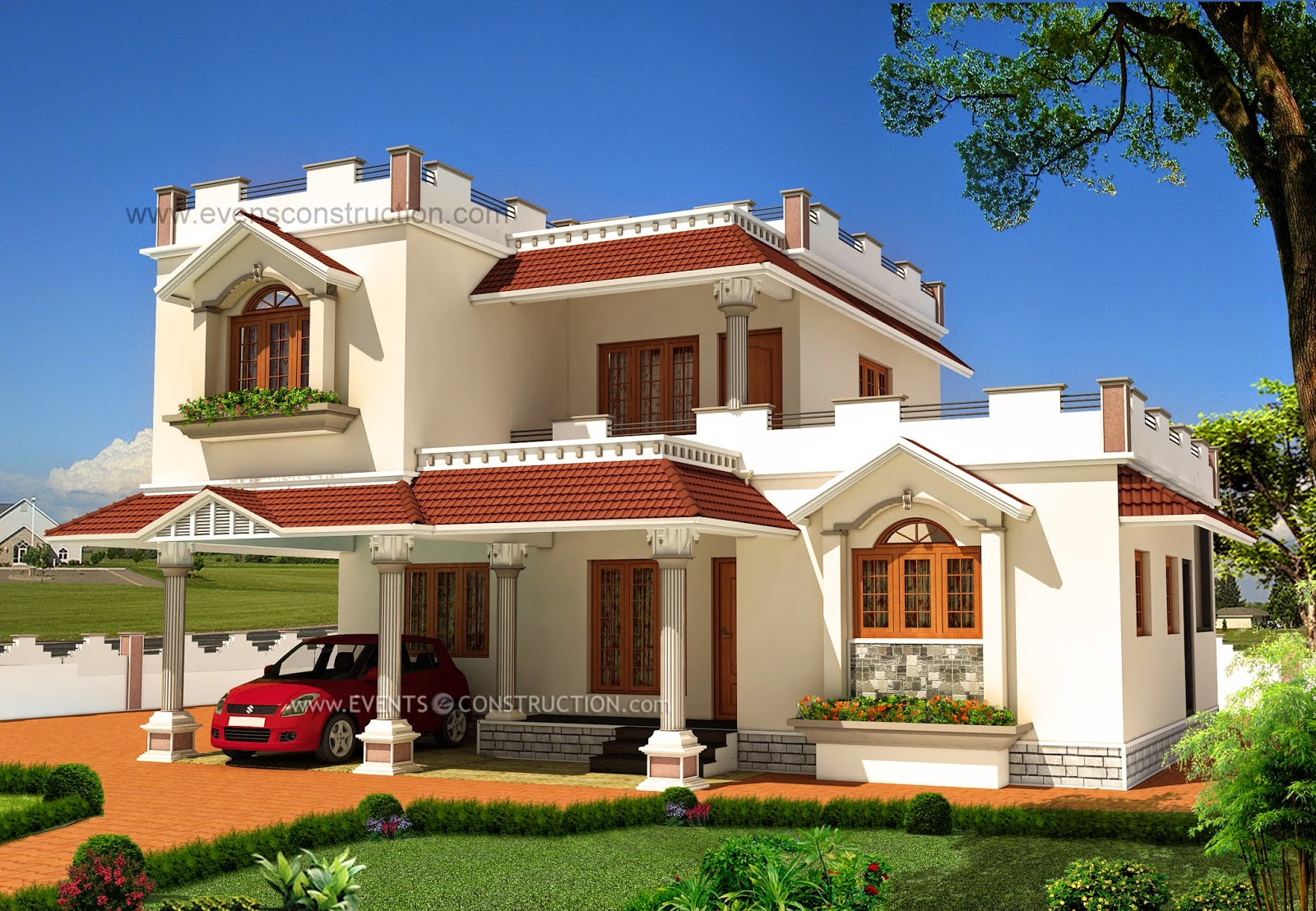 Evens construction pvt ltd exterior design of house in india for Home exterior design india