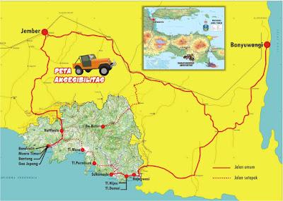 Peta Jalan Taman Nasional Meru Betiri Jawa Timur