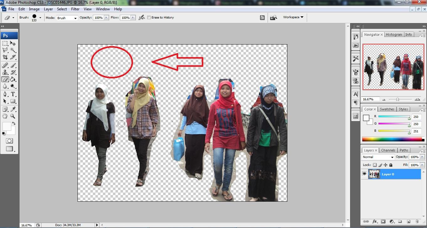 Langkah yang ketiga hapus background dari gambar tersebut. Kalou ...
