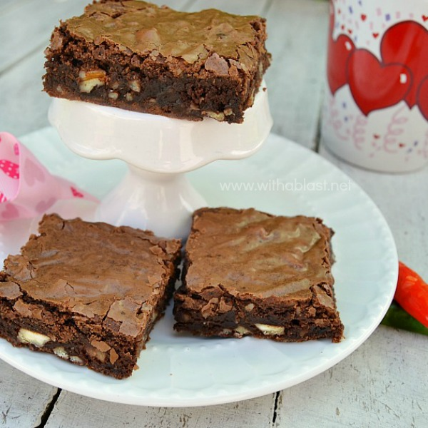Decadent Chili Chocolate Brownies ~ These Chili Infused, gooey Chocolate Brownies have a spicy bite to them and make the perfect Valentines Day treat {or any other day ! }