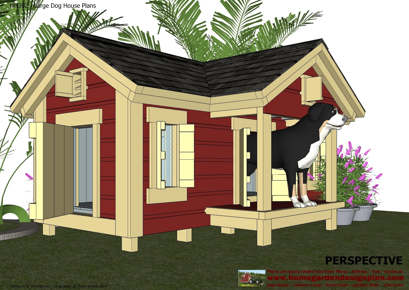 Home garden plans dh302 insulated dog house plans for House plan builder free