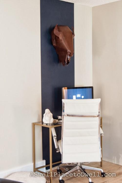 Ikea Vittjso Desk with navy stripe