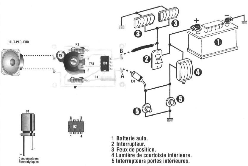 schema electronique gratuit montage schema avertisseur acoustique de feux de position allumes. Black Bedroom Furniture Sets. Home Design Ideas