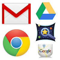 google apps - gmail, google drive, sky maps, chrome, google maps