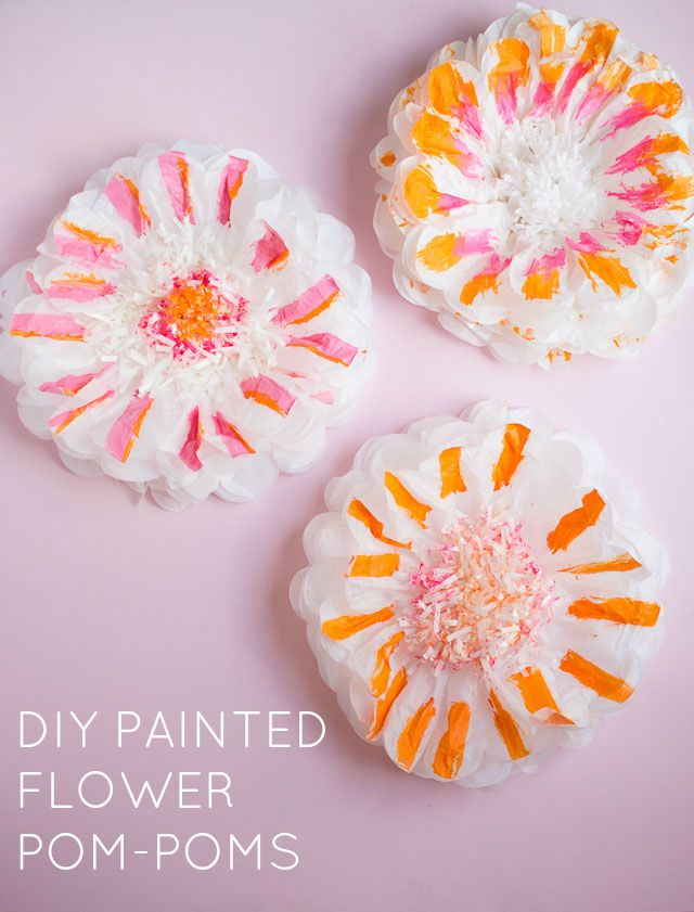 How to paint tissue paper pom poms design improvised diy painted flower pom poms mightylinksfo