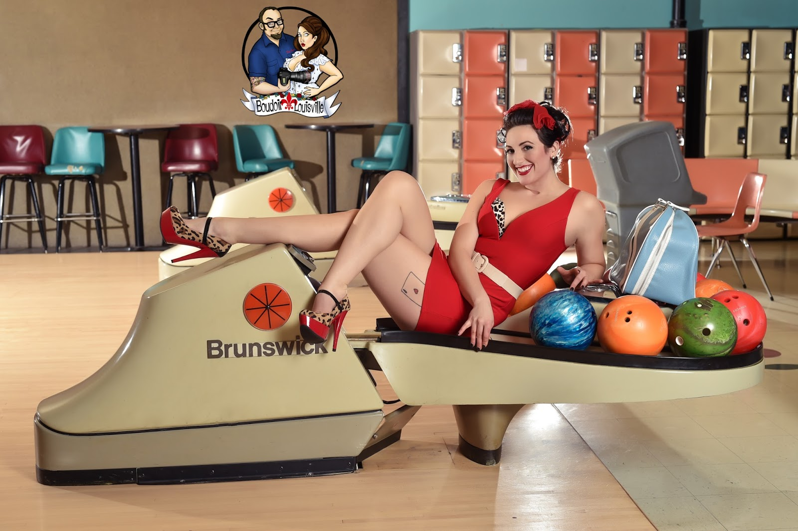 Pin up girl bowling