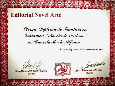 """Diploma de Finalista en Certamen Novelarte"""