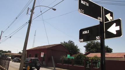 Esquina en dirección a casa de Violeta Parra en San Carlos