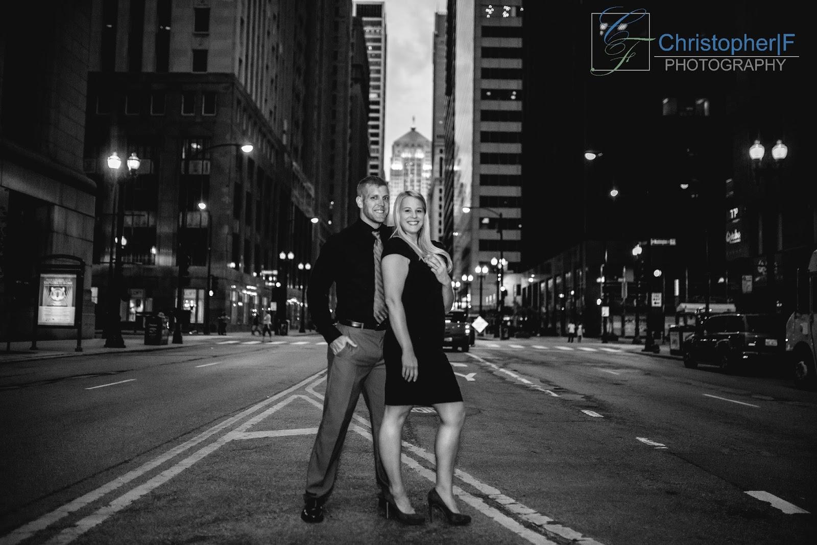 Chicago Lasalle Street Engagement Photo